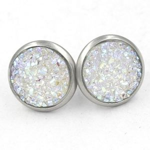 NWT White 925 Sterling Silver Druzy Studs